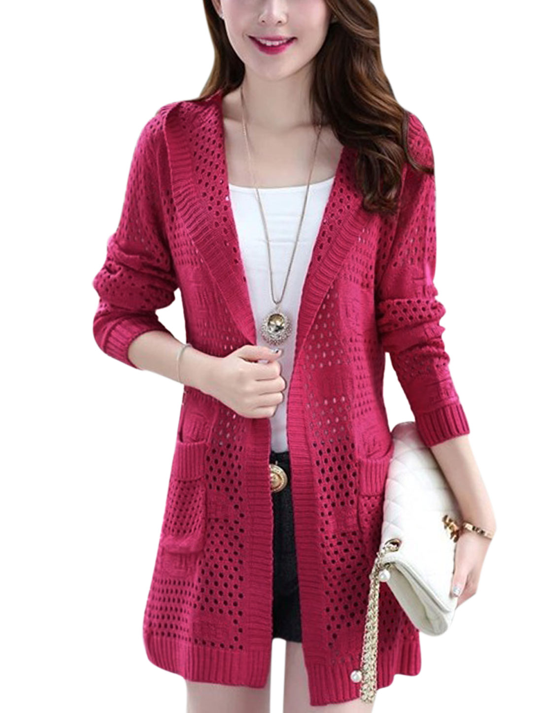 Waist String Decor Back Ribbed Trim Long Sleeve Cardigan for Lady Fuchsia S