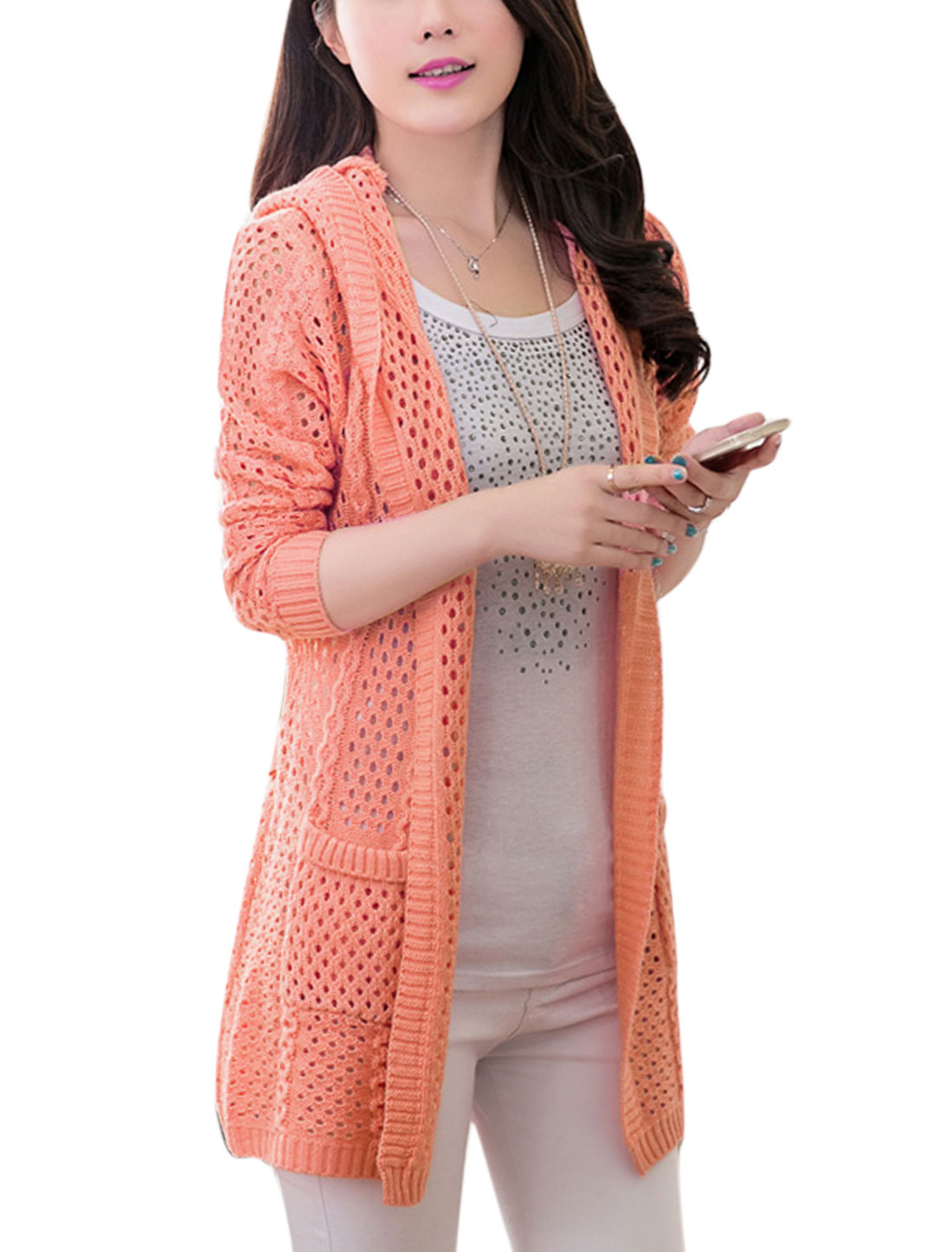 Lady Front Opening Hollow-out Two Front Pockets Casual Cardigan Pale Pink S