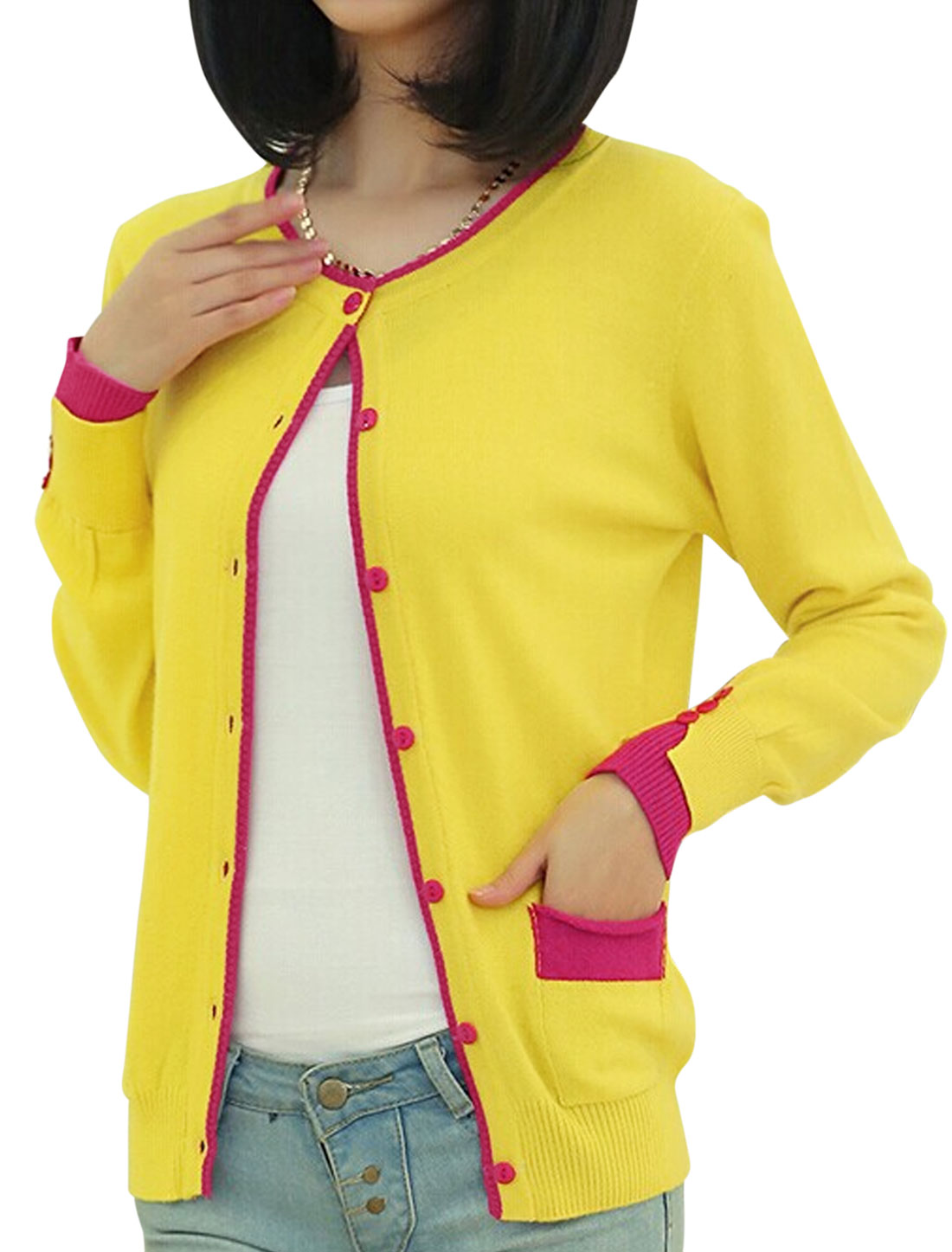 Lady Round Neck Button Closure Front Leisure Cardigan Yellow XS