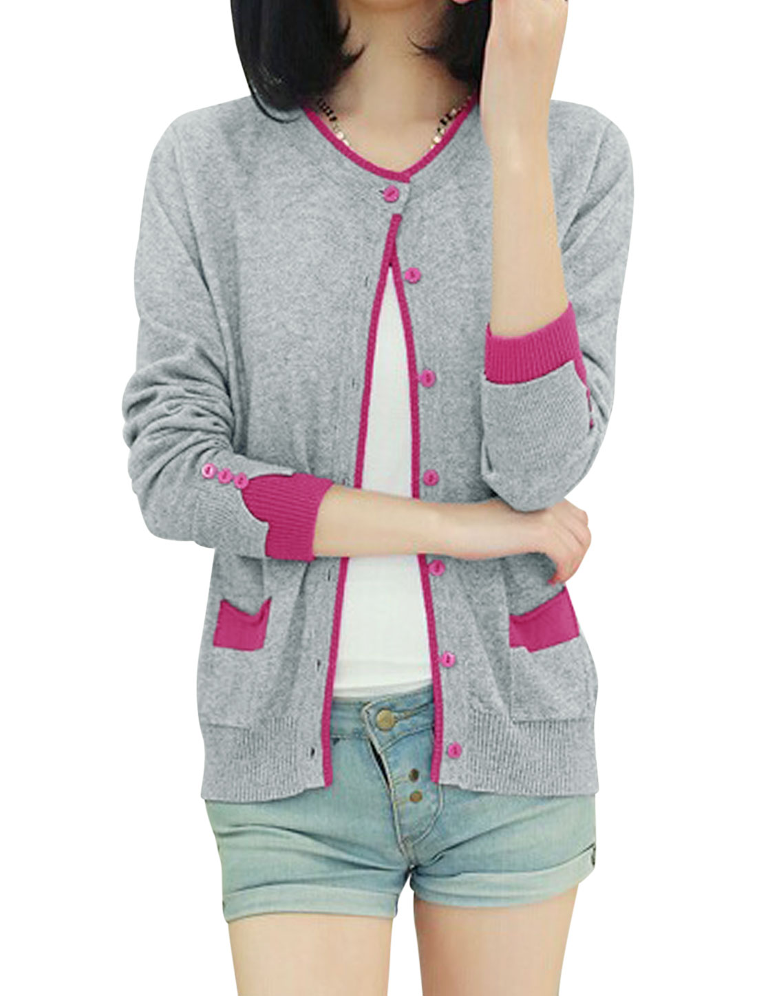 Cozy Fit Ribbed Cuff w Hem Casual Cardigan for Lady Light Gray XS