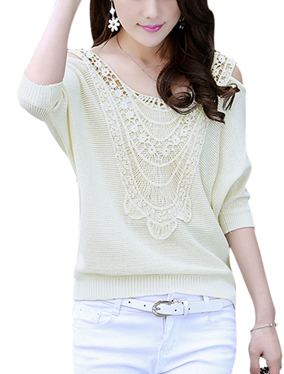 Women Crochet Panel Cut Out Shoulder Batwing Sleeve Knit Shirt Beige L