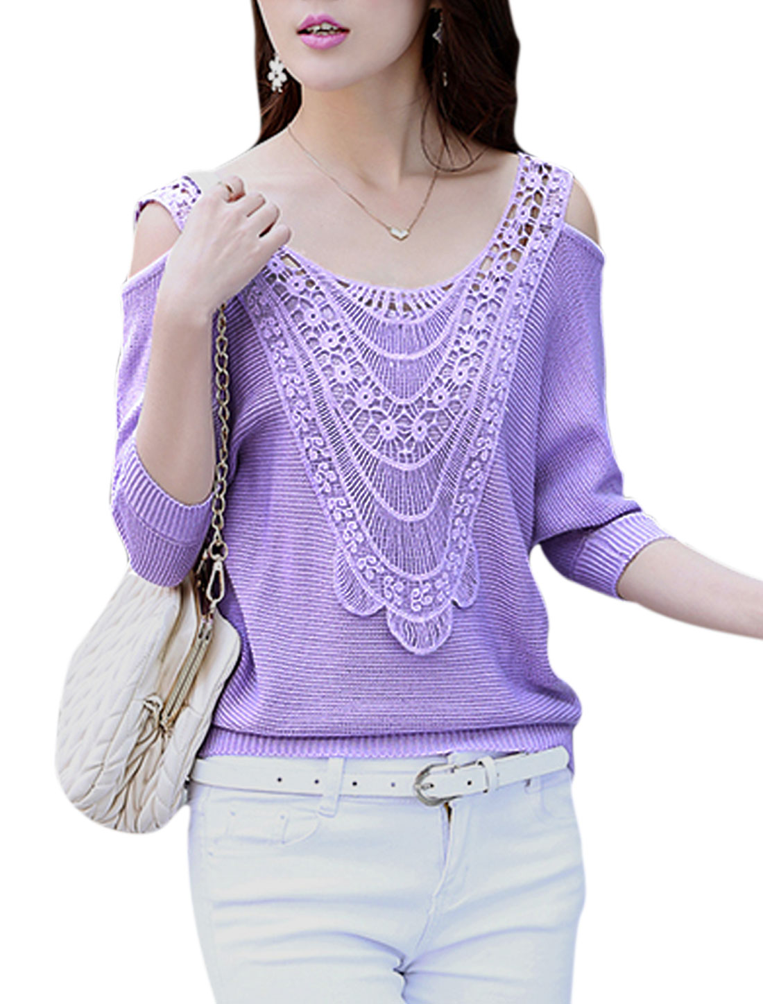Lady Pullover Cold Shoulder Bat Sleeve Ribbed Hem Knit Shirt Lavender L