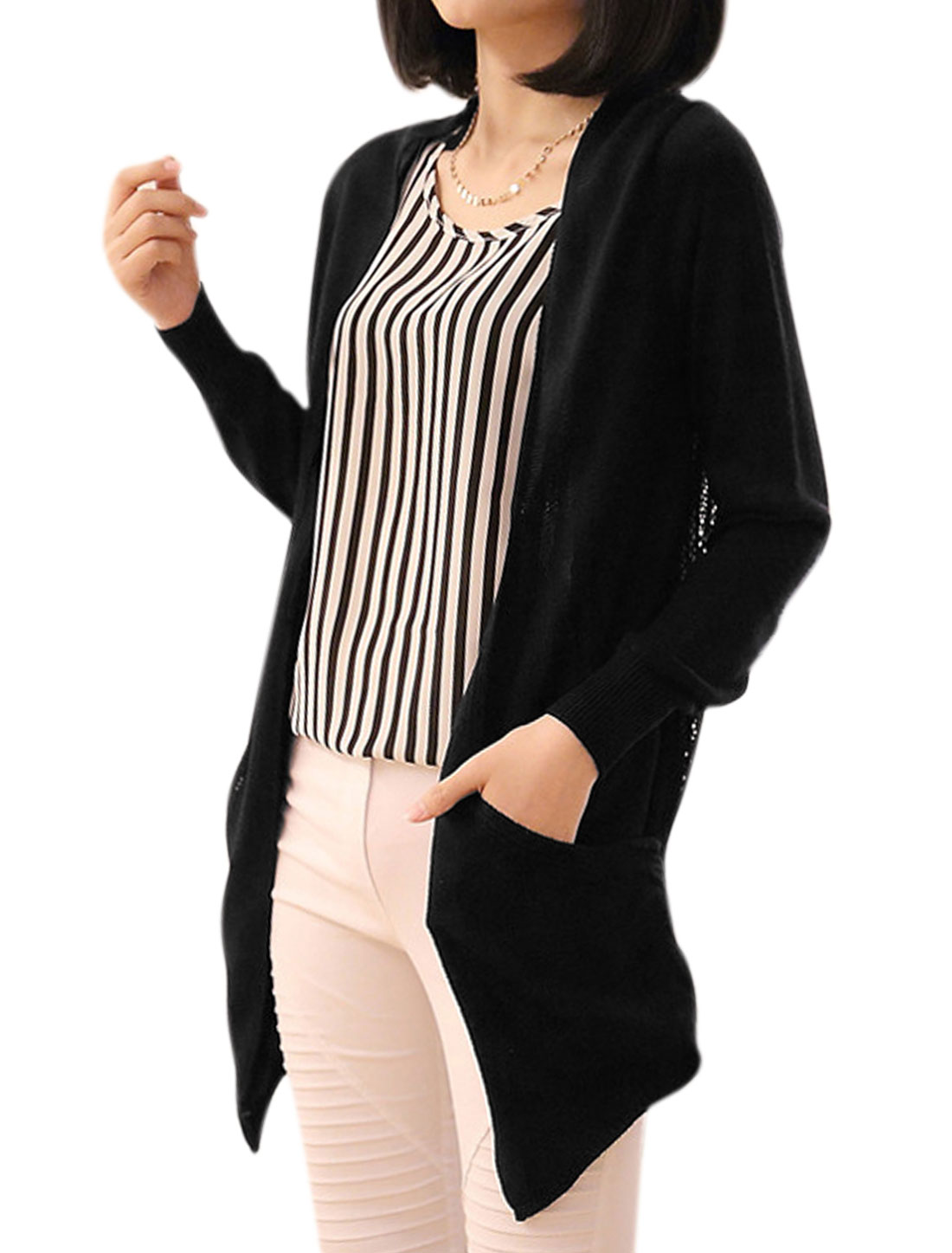 Women Front Opening Hollow Out Back Asymmetric Hem Casual Cardigan Black S