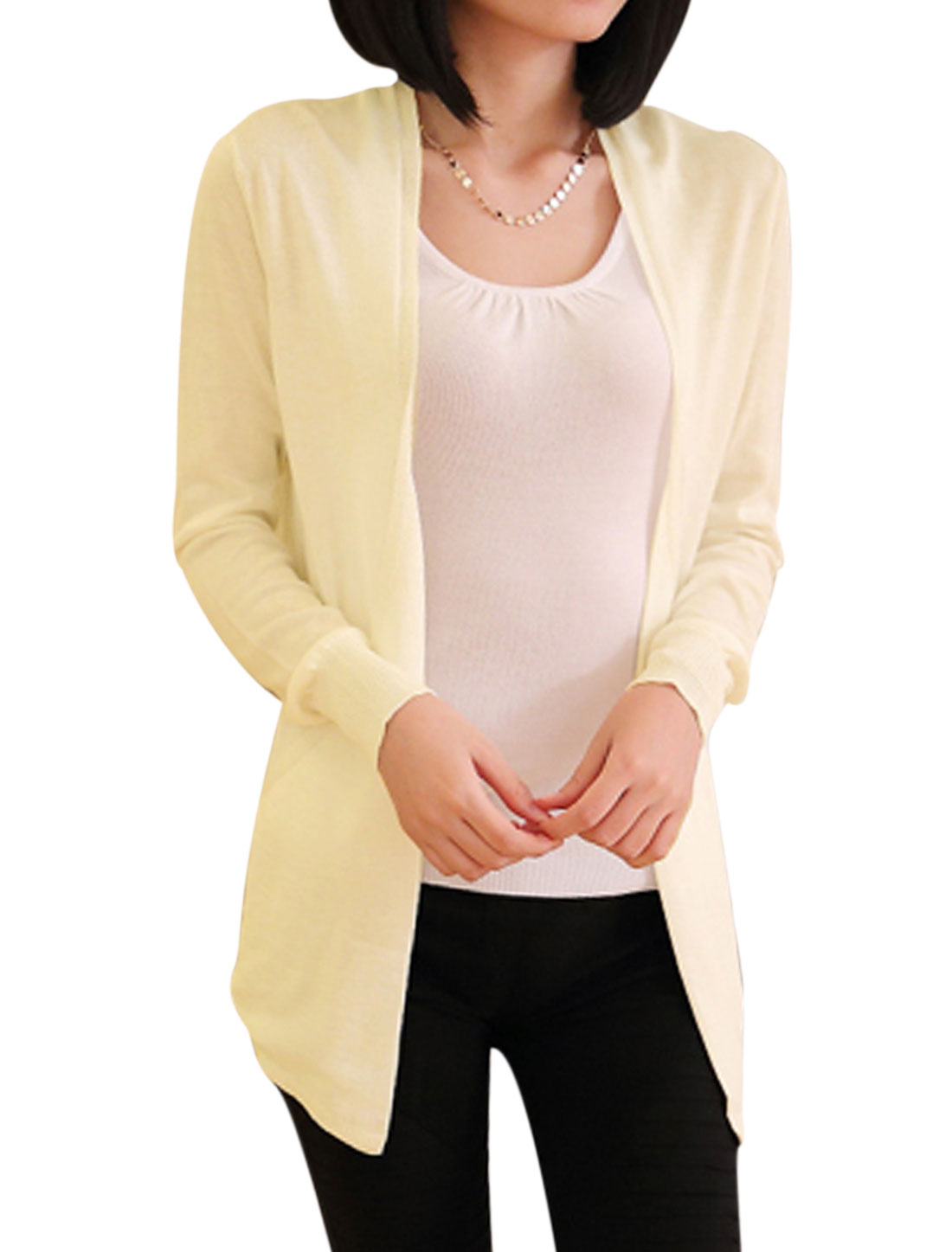 Lady Open Front Long Sleeve Hollow Out Back Casual Cardigan Beige S