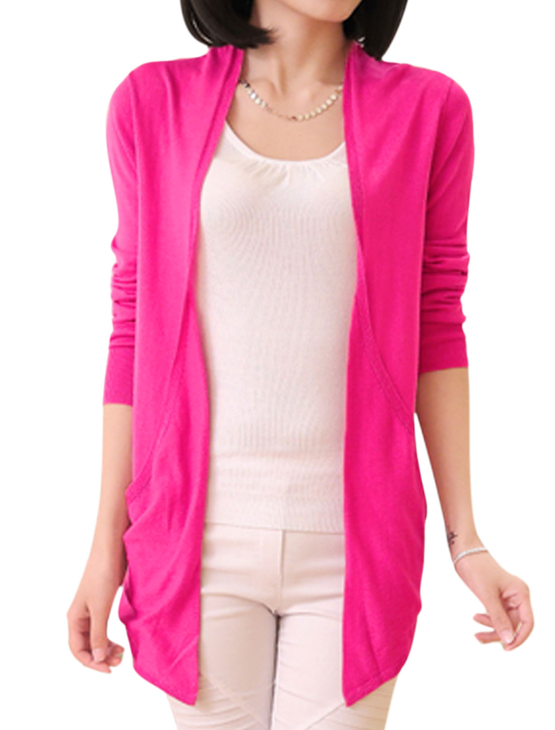 Lady Double Front Pockets Non-closure Front Cardigan Fuchsia S