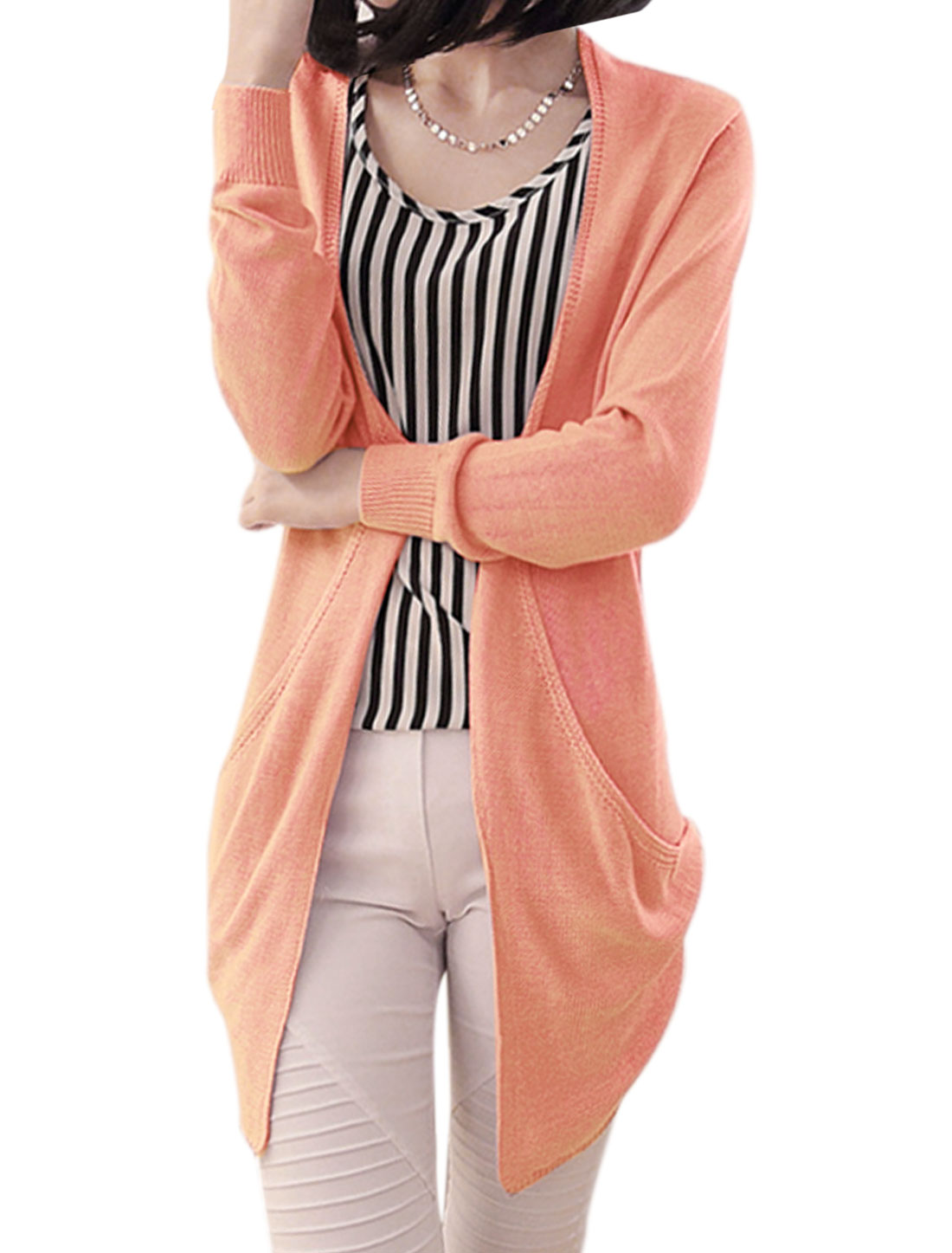 Women Open Front Hollow Out Back Low-High Hem Leisure Cardigan Pale Pink S