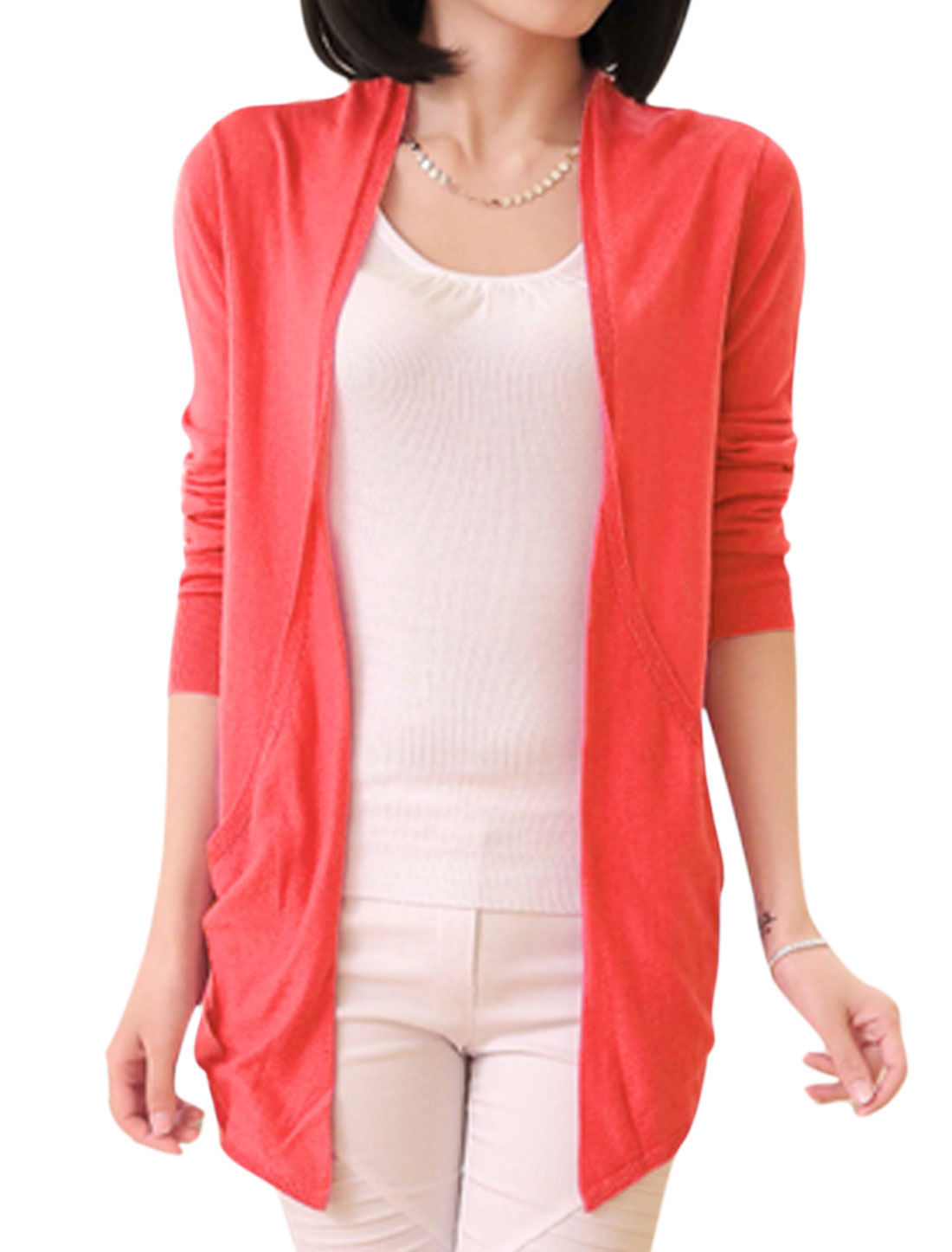 Lady Buttonless Front Hollow Out Back Cardigan Watermelon Red S