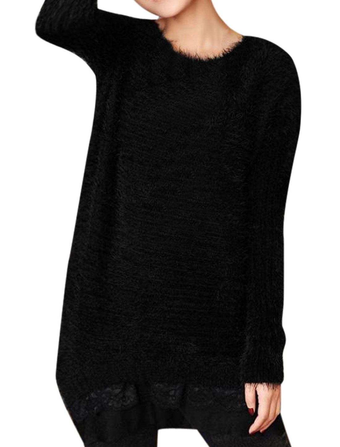 Women Round Neck Long Sleeve Lace Panel Hem Casual Tunic Sweater Black XS