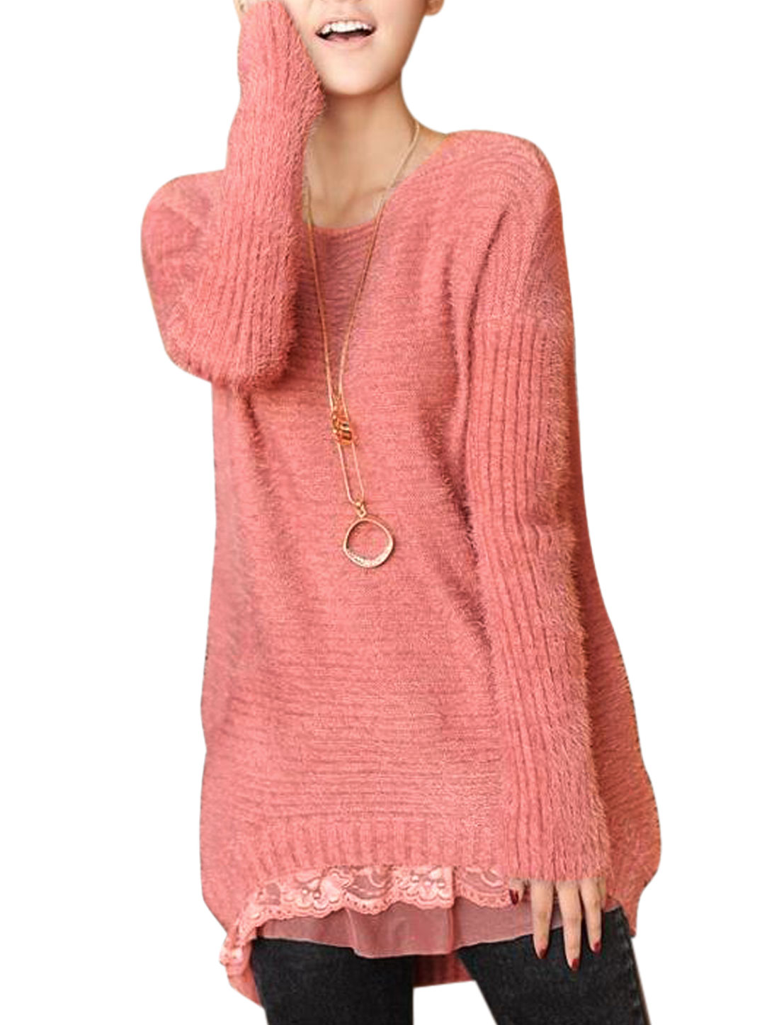 Lady Pullover Lace Patchwork Hem Casual Tunic Sweater Pale Pink XS