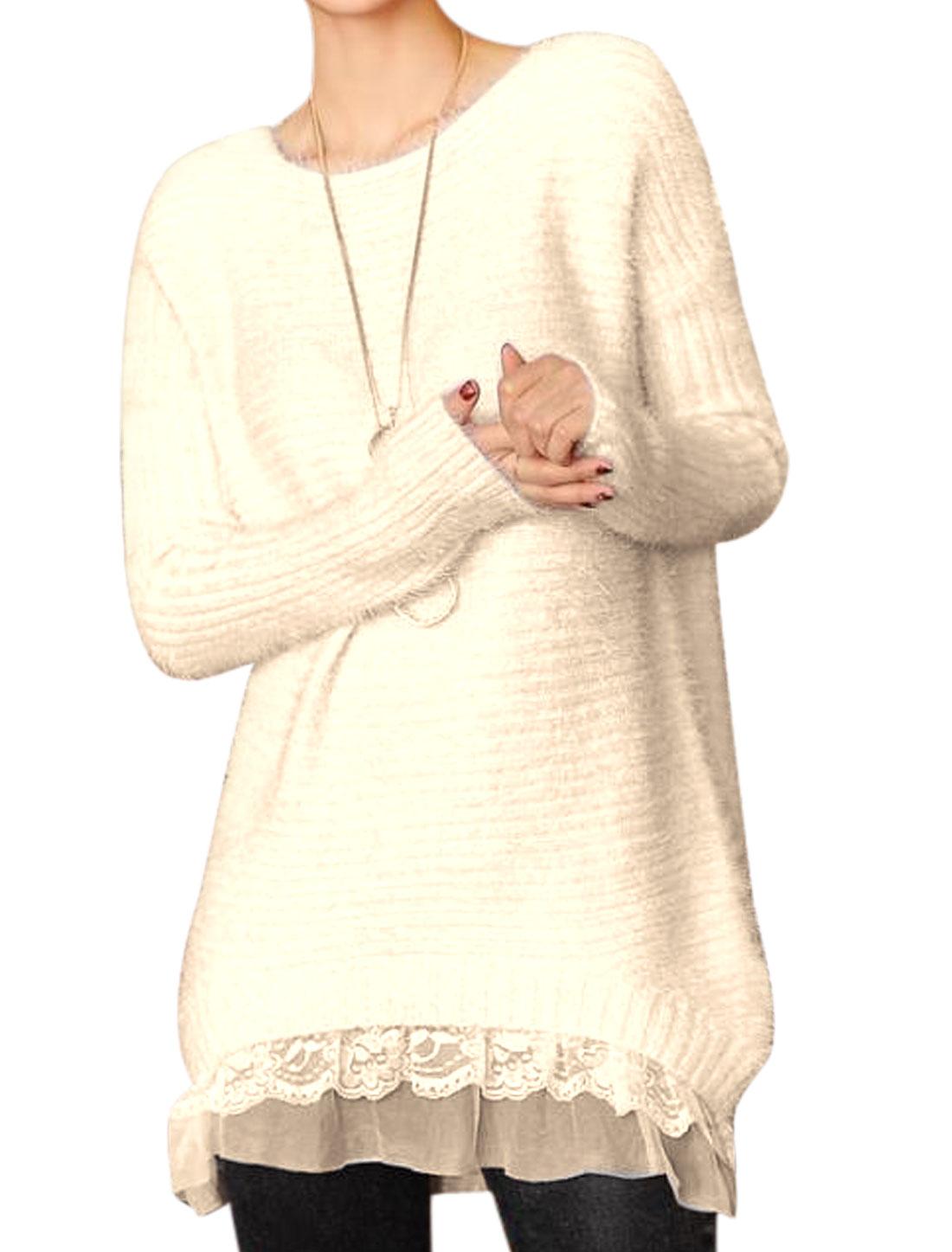 Women Slipover Long Sleeve Leisure Tunic Sweater Beige XS