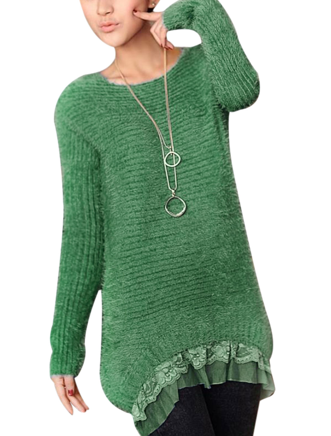 Lady Round Neck Pullover Long Sleeve Leisure Tunic Sweater Green XS