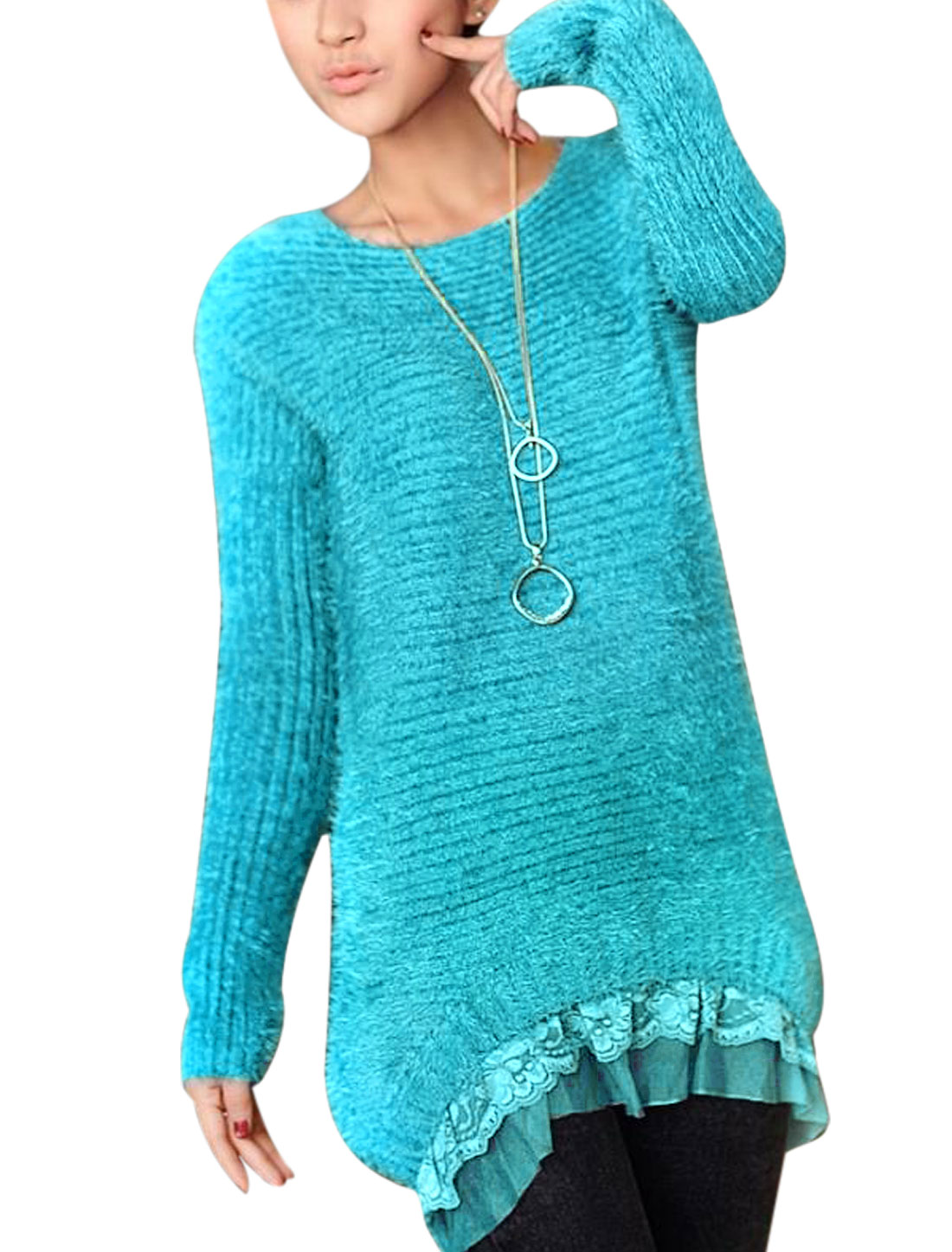 Women New Style Pullover Lace Panel Hem Tunic Sweater Sky Blue XS
