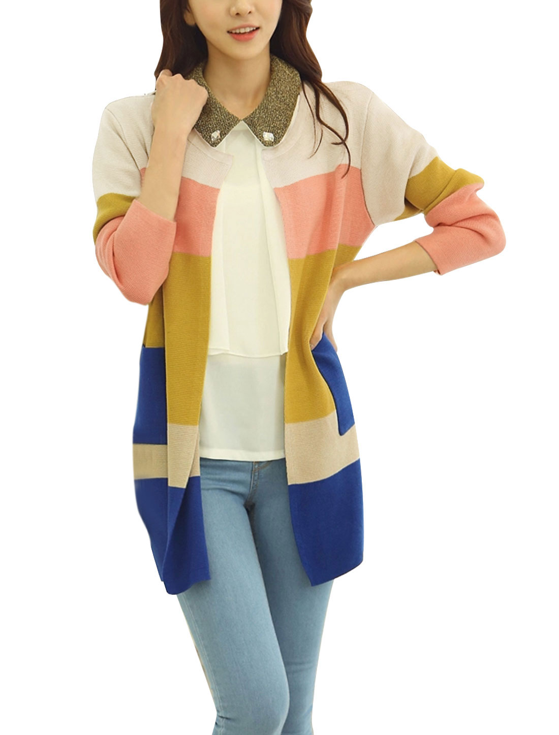 Lady Color Block Double Vertical Pockets Casual Cardigan Beige XS