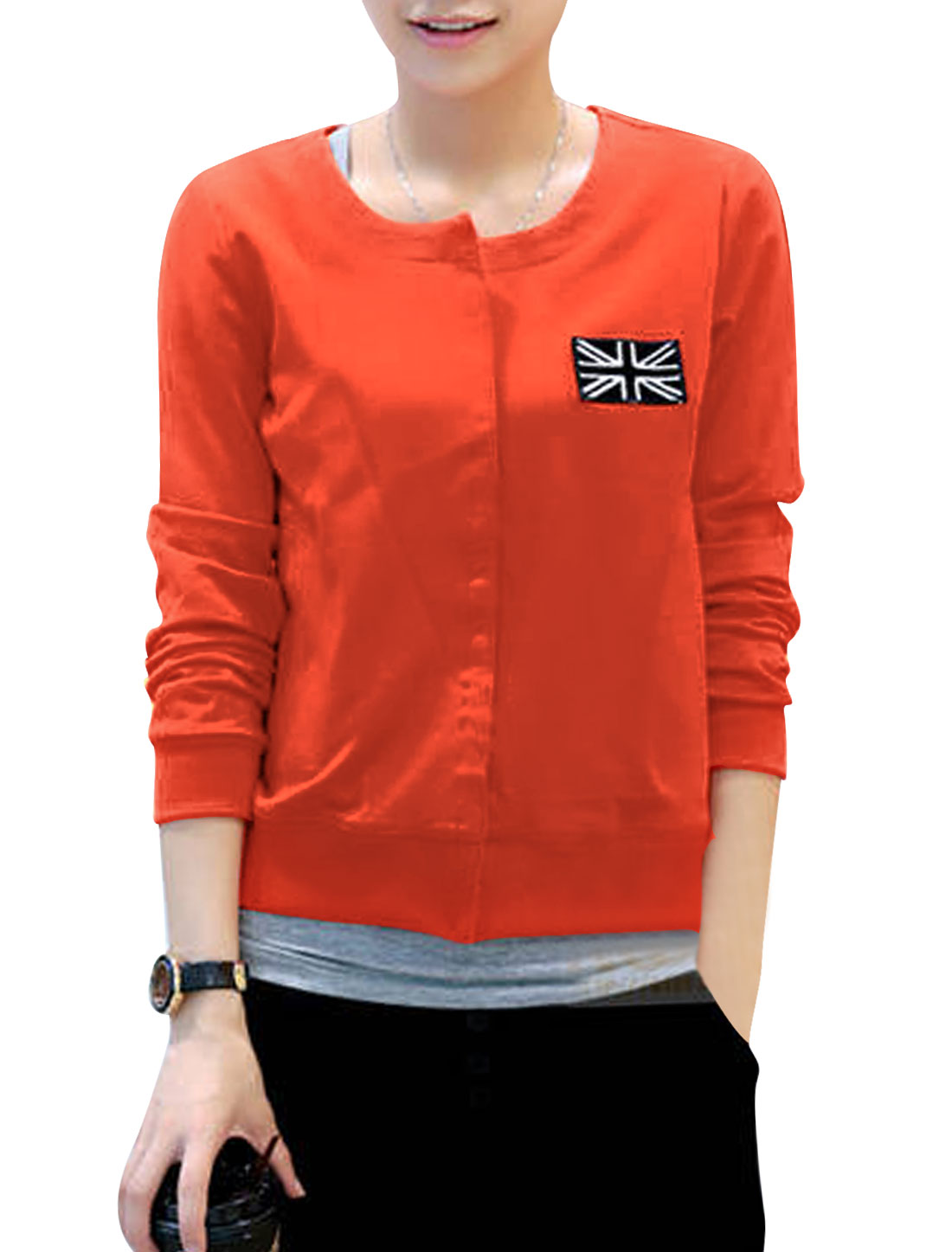 Lady Hidden Button Closure Spliced Detail Casual Jacket Coral XS