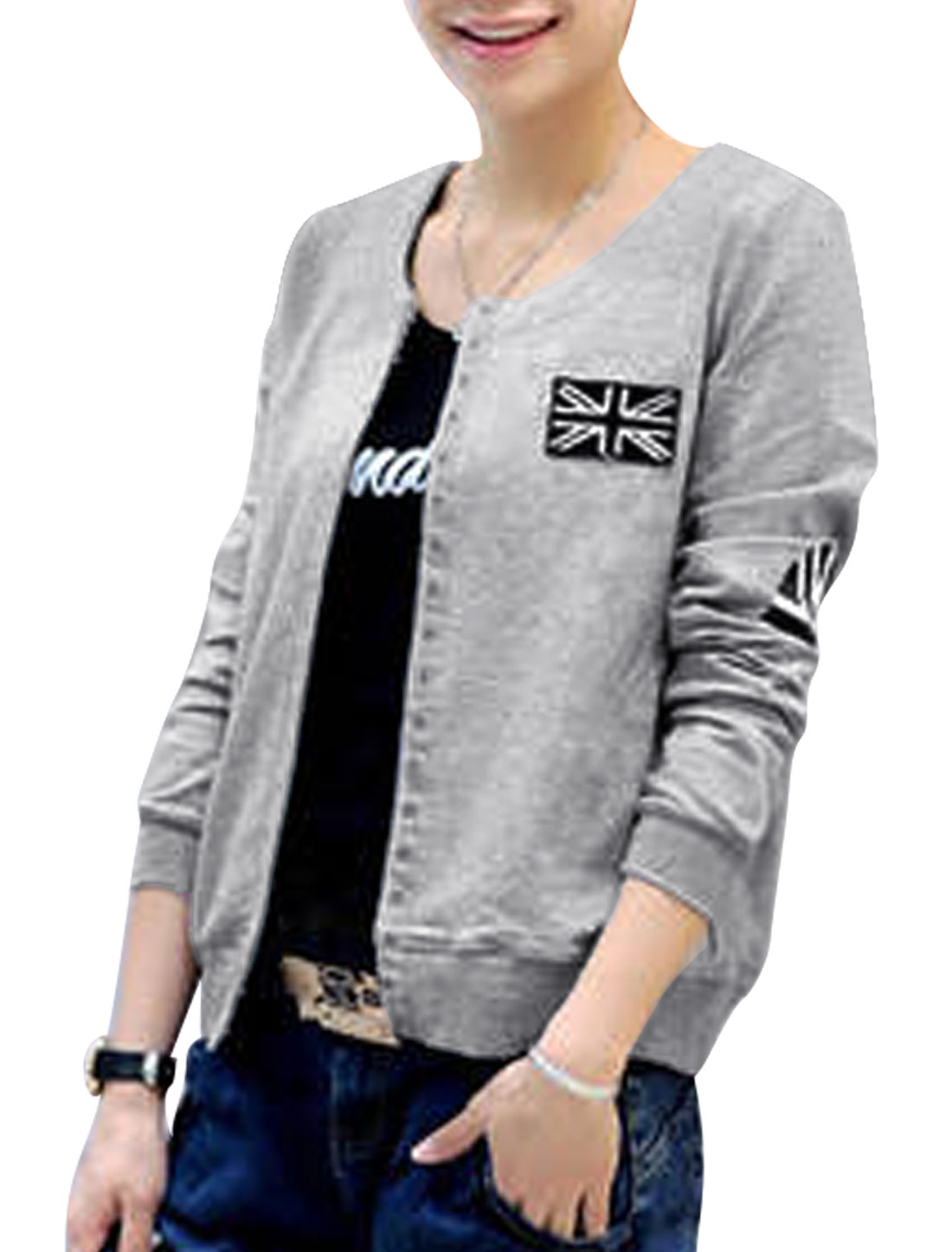 Women Fashion Style Union Flag Detail Leisure Jacket Light Gray XS