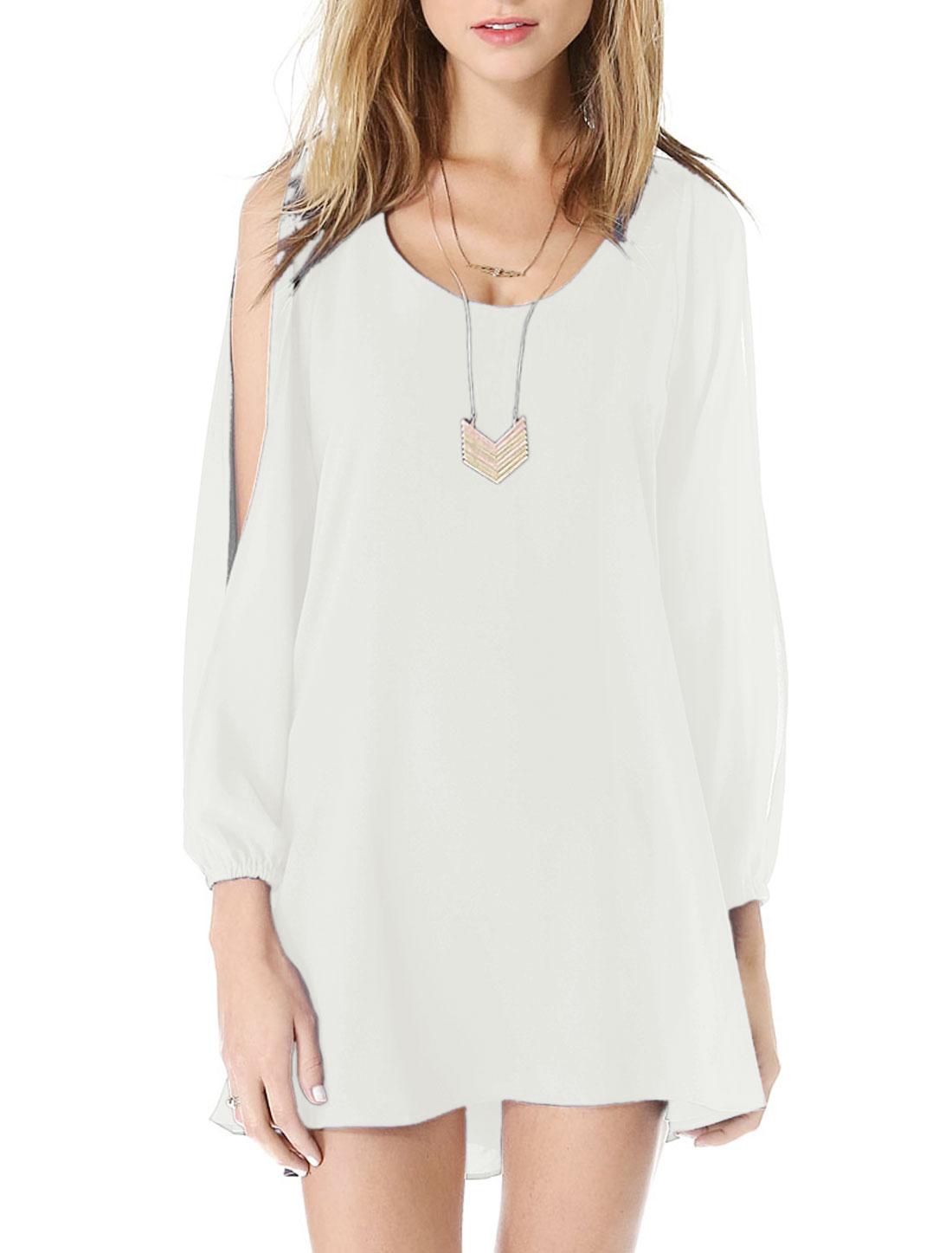 Lady Cut Out Sleeve Elastic Cuff Casual Chiffon Shift Dress White M
