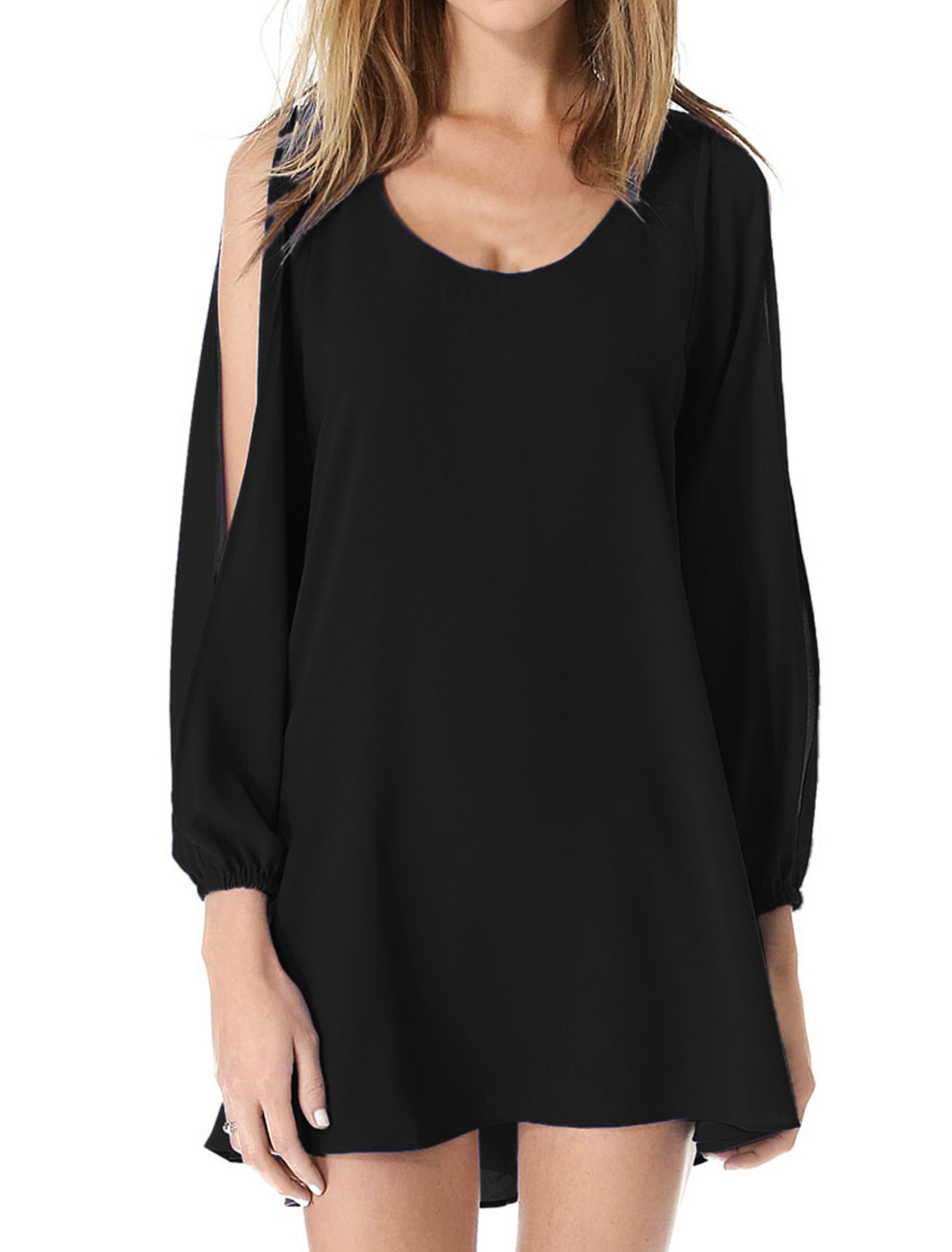 Lady Pullover Round Neck Fashionable Leisure Chiffon Shift Dress Black M