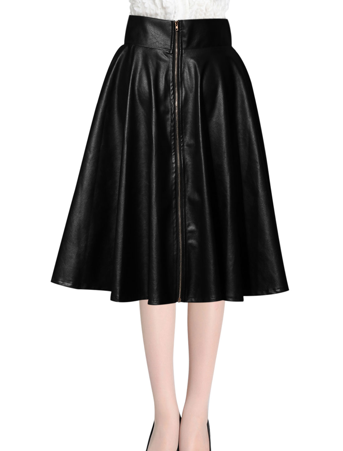 Women Zipper Back Casual A-Line Imitation Leather Skirt Black M