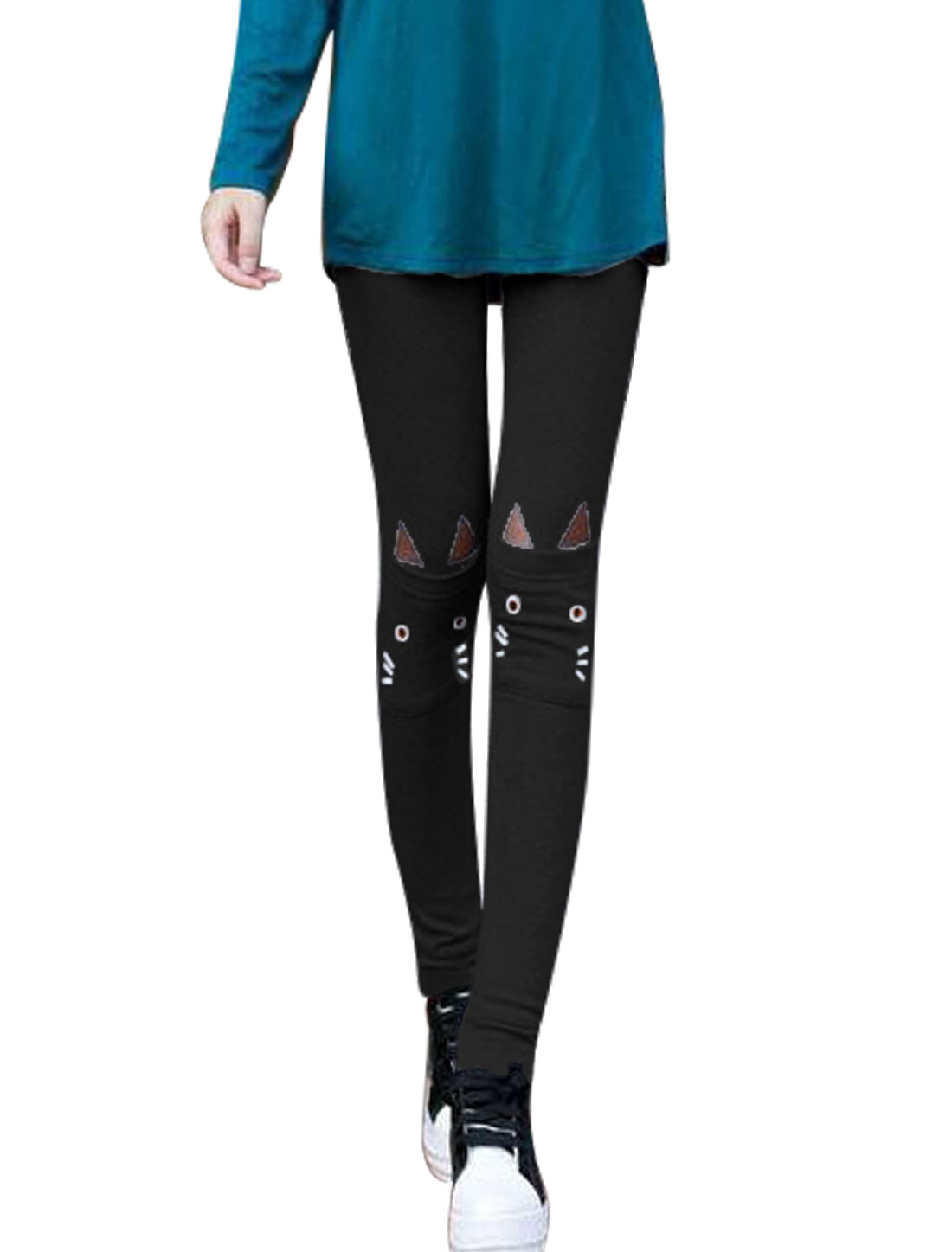 Women Elastic Waist Cat Detail Double Front Pockets Slim Leggings Black XS