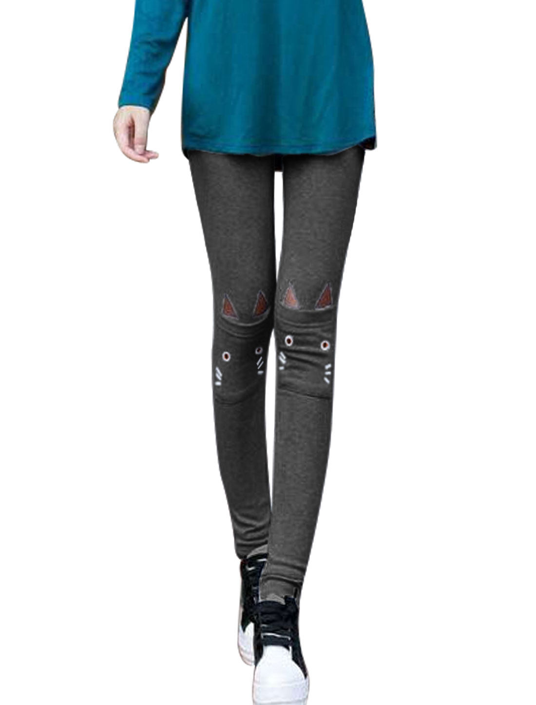 Lady Fashion Style Cat Detail Elastic Waist Leggings Dark Gray XS