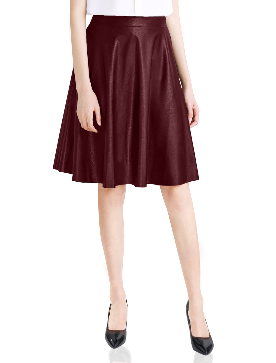 New Style Slim Elastic Waist Back Imitation Leather Skirt for Lady Burgundy L