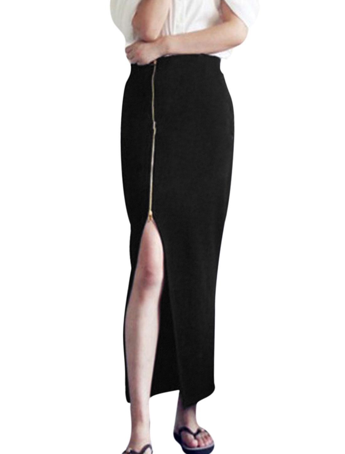 Lady Elastic Waist Side Zipper Side Split Stylish Knitted Skirt Black M