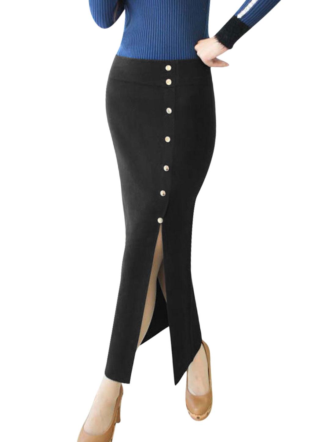 Women Elastic Waist Buttons Decor Side Split Stylish Knitted Skirt Black XS