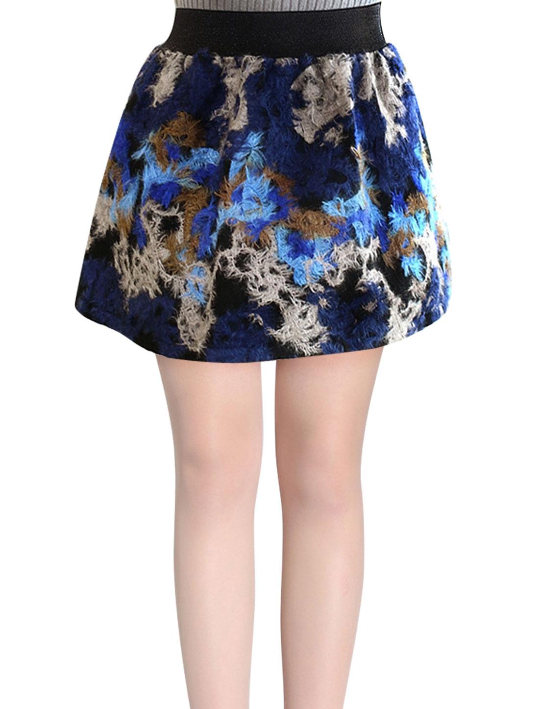 Women Feather Design Ruffled Detail Full Lined Full Skirt Khaki Navy Blue S