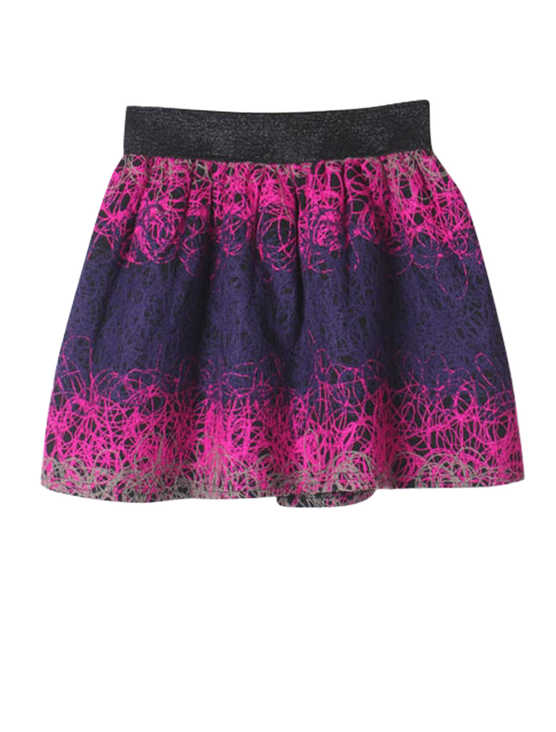 Lady Embroidery Design Glitter Detail Full Lined Full Skirt Fuchsia Navy Blue S