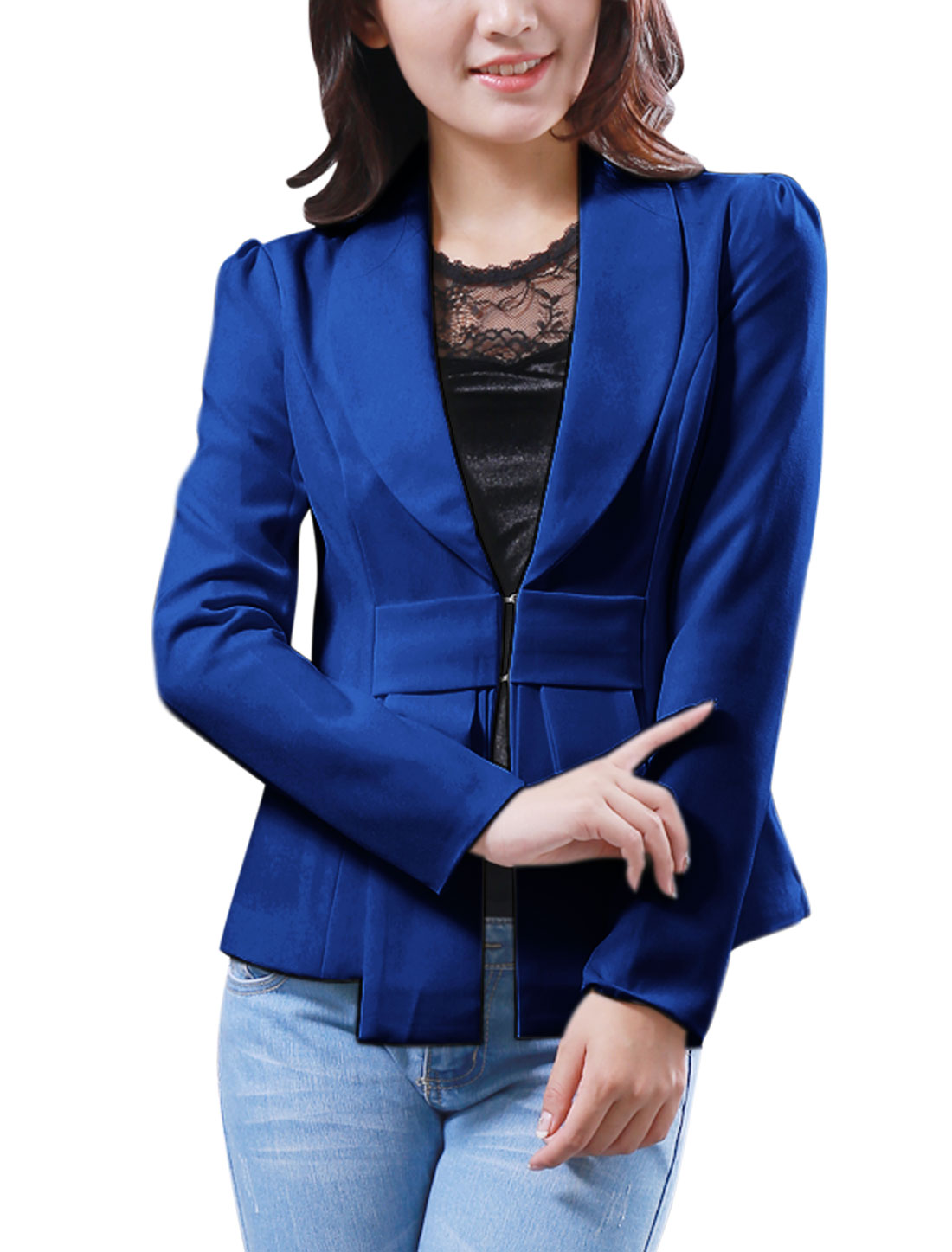 Ladies Shawl Lapel Bowknot Decor Front Lining Fashion Light Blazer Royal Blue XS