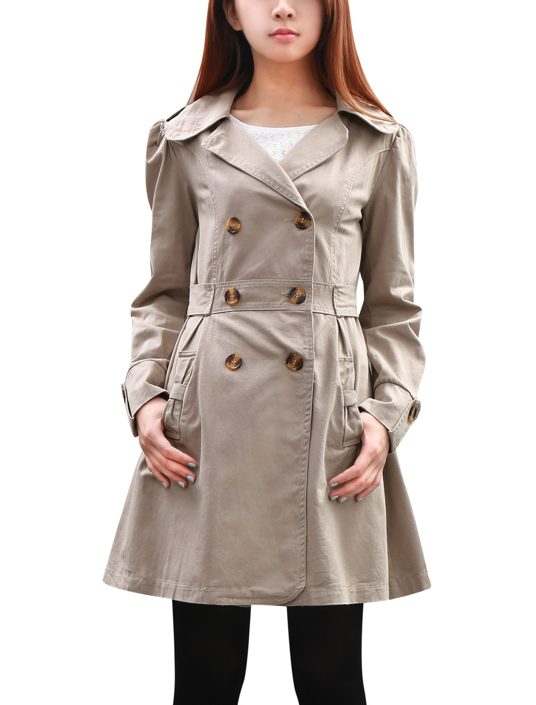 Women Button-tab Epaulets Notched Lapel Autumn Trench Jacket Gray XL