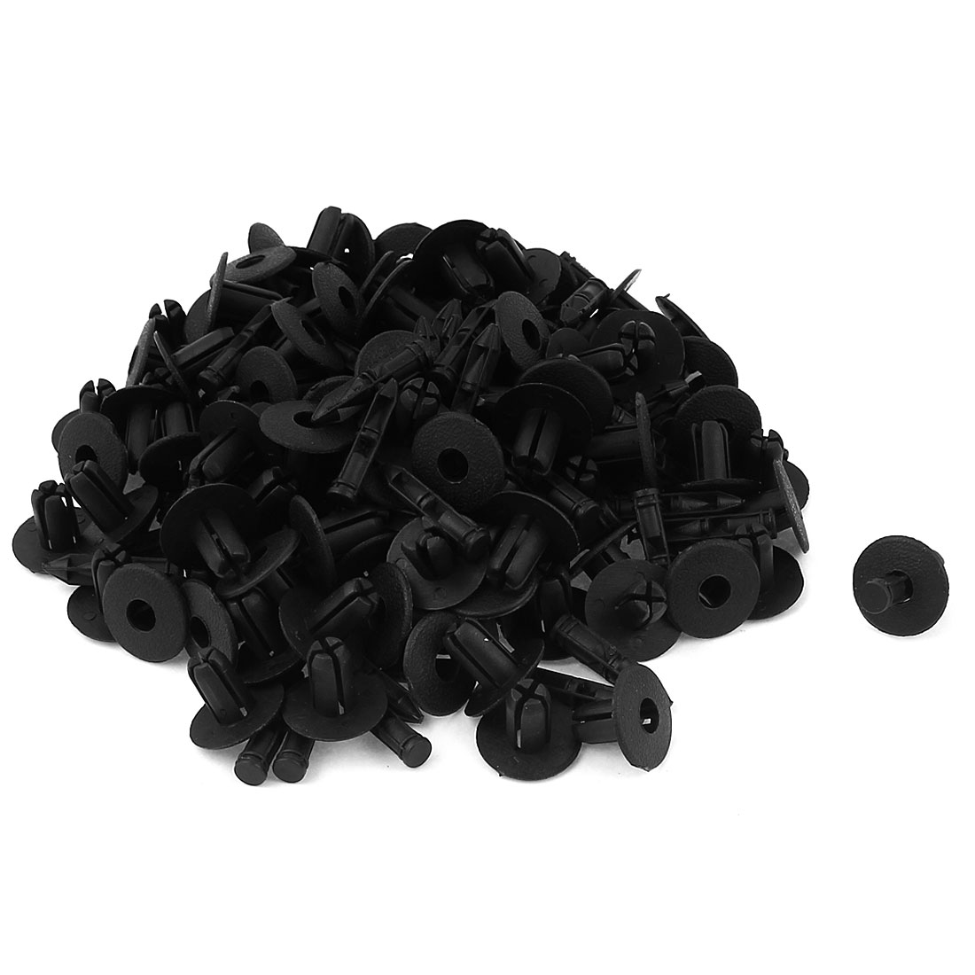100 Pcs Plastic Rivet Fastener Expanding Clip Black Replacement 7mm