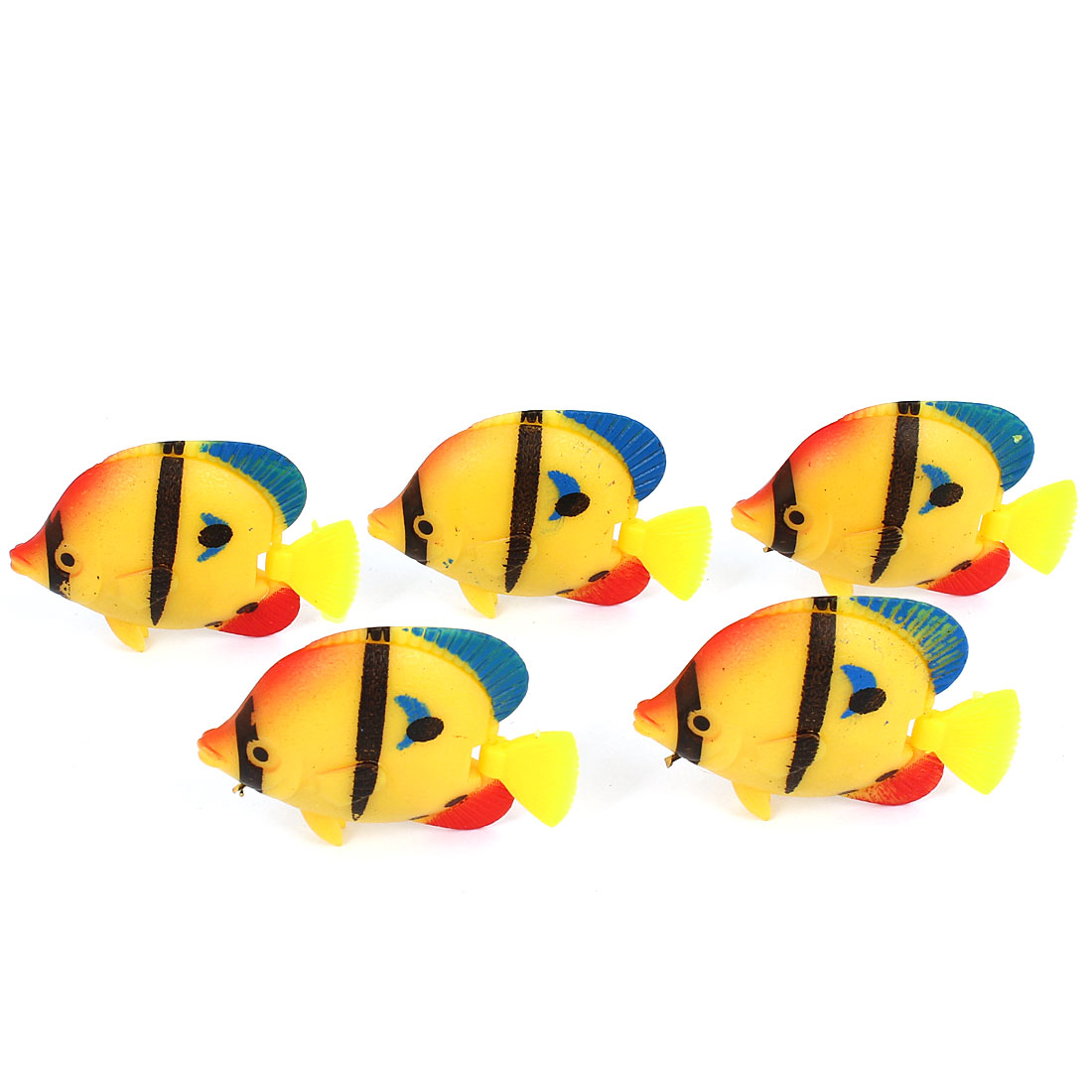 5 Pcs Aquarium Manmade Wiggly Tail Swimming Fishes Decor Yellow Black