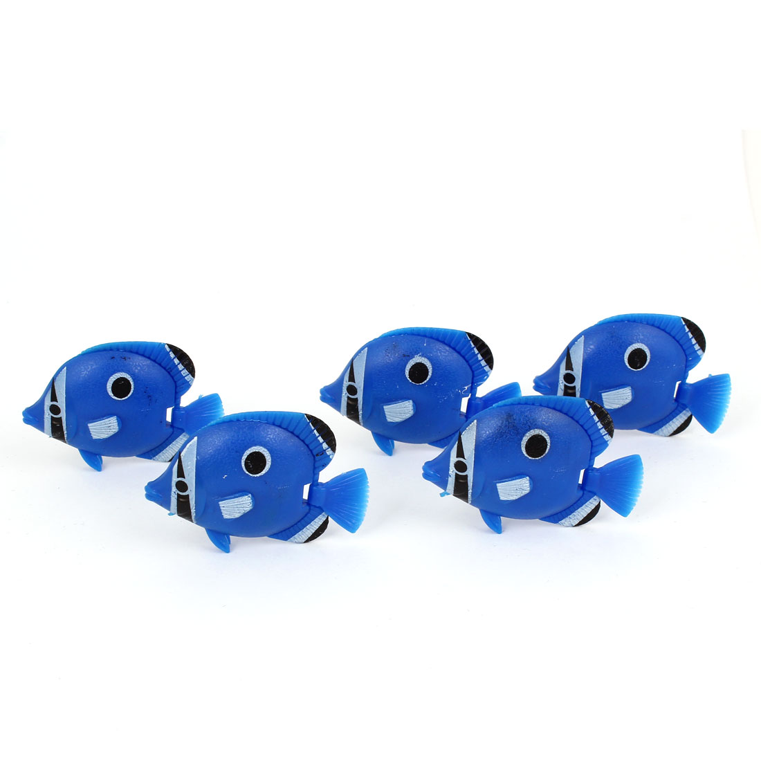 5 Pcs Aquarium Manmade Wiggly Tail Swimming Fishes Decor Blue