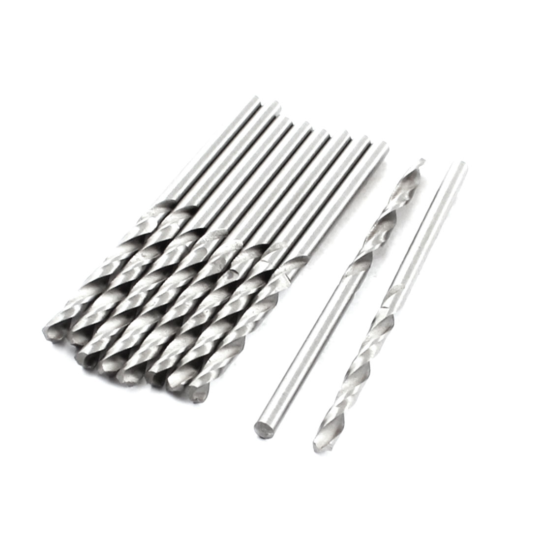 HSS Straight Shank 2.8mm Twist Head 69mm Long Drill Bit Silver Tone 10PCS