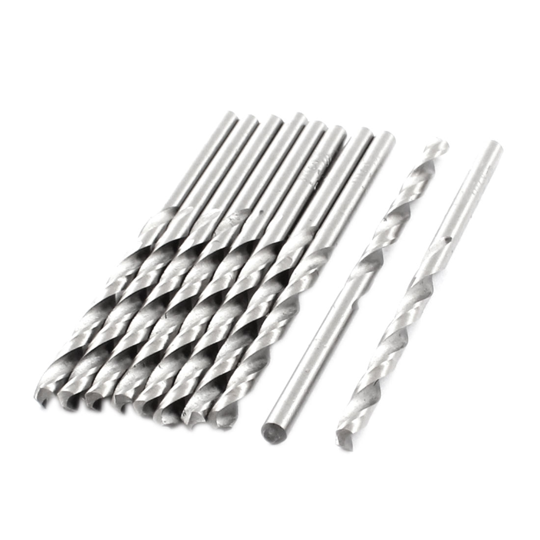 HSS Straight Shank 3.4mm Twist Head 68mm Long Drill Bit Silver Tone 10PCS