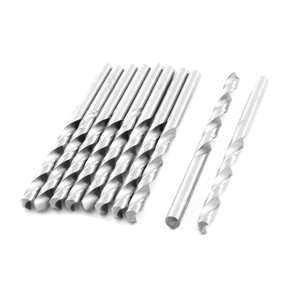 HSS Straight Shank 5.1mm Twist Head 83mm Long Drill Bit Silver Tone 10PCS