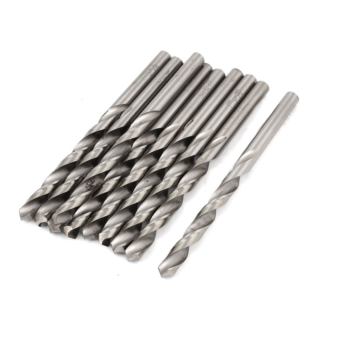 10 Pcs 62mm Length Flute 6.4mm Dia Metal Marble HSS Twist Drilling Drill Bit