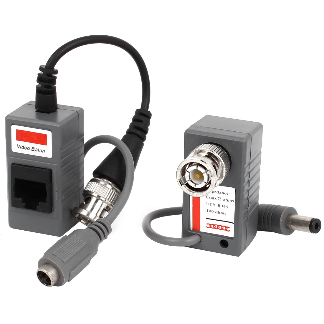 Security Camera BNC to DC 2.1x5.5mm Video Power Balun Transceiver Pair