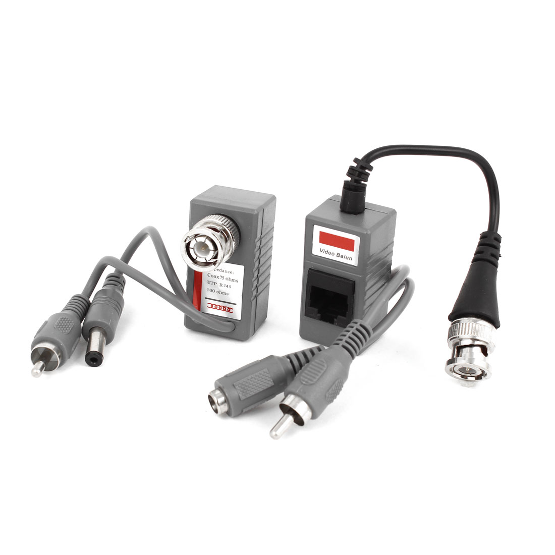 Security Camera BNC RCA DC 2.1x5.5mm Video Audio Power Balun Pair