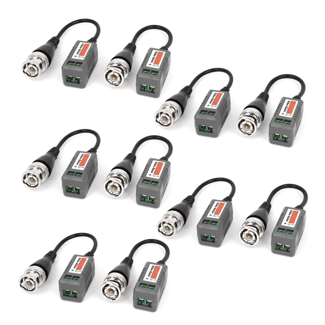 CCTV Camera BNC Male Connector UTP 1CH Passive Video Balun Transceiver 10 Pcs