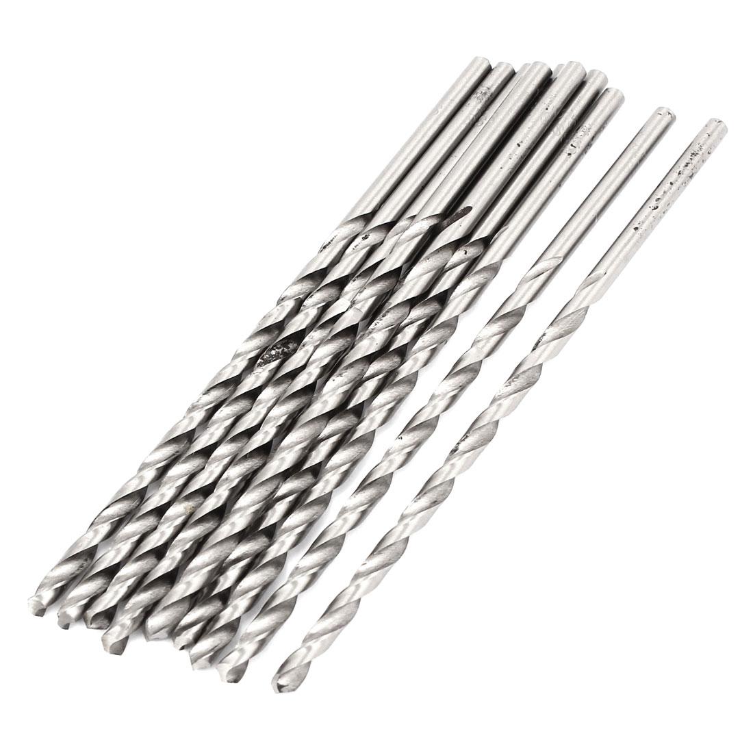 3.5mm x 80mm Straight Shank HSS Twist Drill Drilling Bits Silver Tone 10pcs