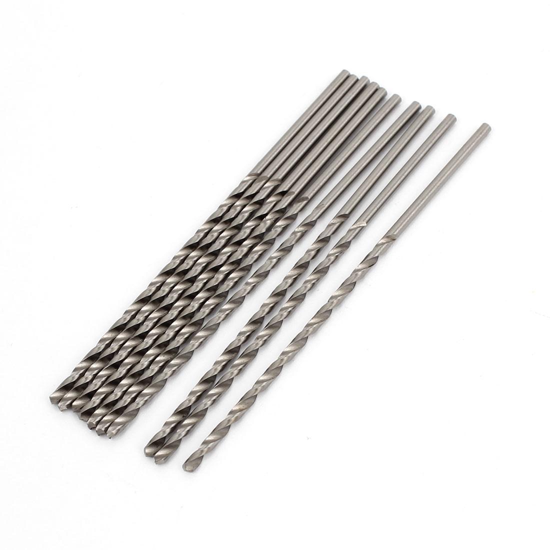 10 Pcs Straight Shank 50mm Flute Long 1.7mm Dia Electric Drill Twist Bit
