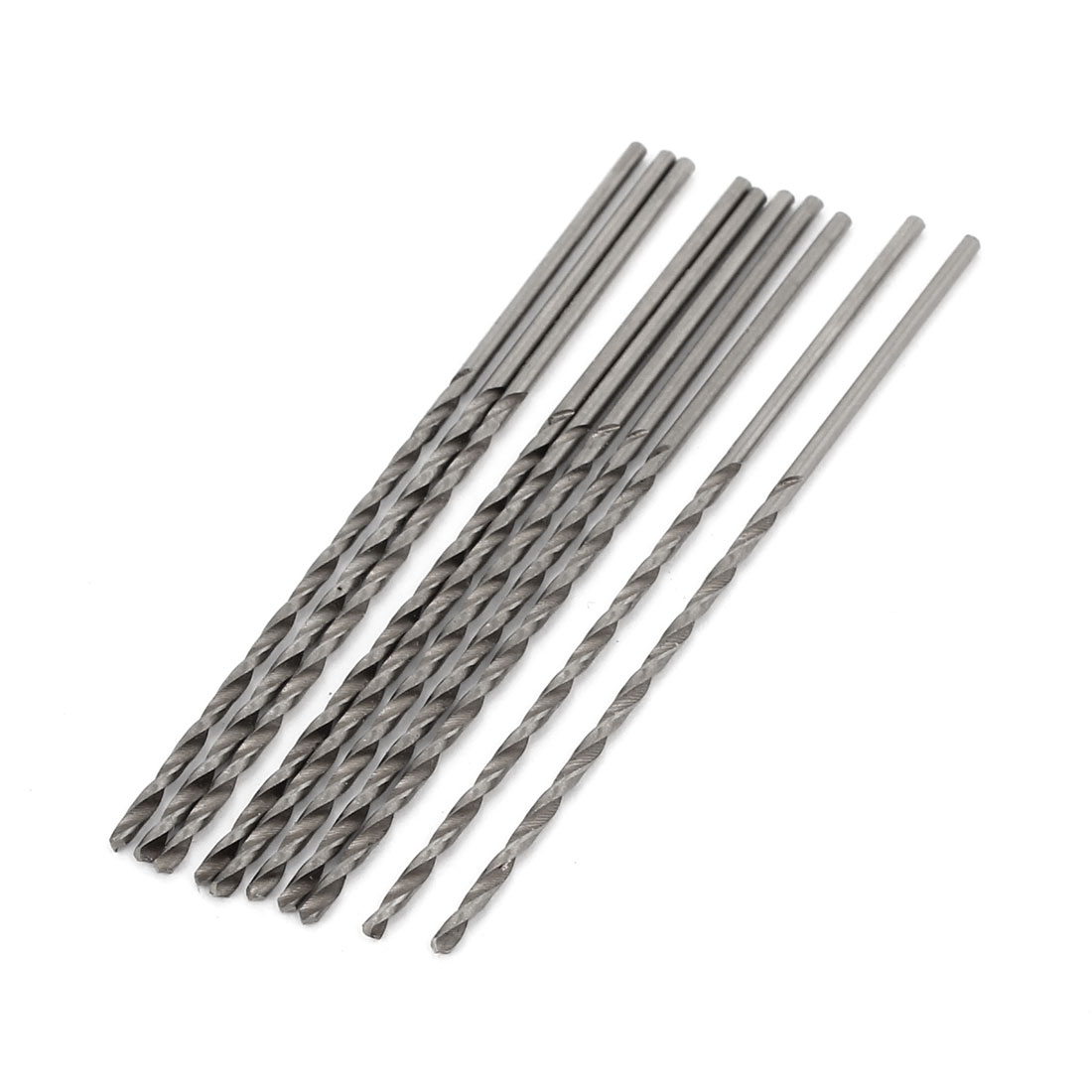 10 Pieces 1.3mm x 40mm Straight Shank HSS Twist Drilling Bits Silver Tone