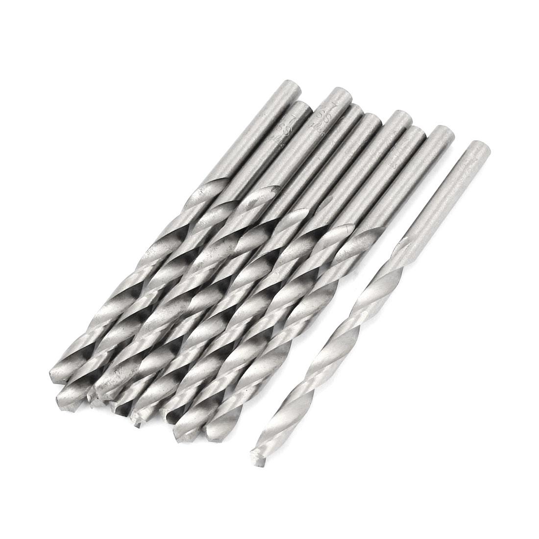 4.7mm x 55mm Straight Shank HSS Twist Drill Drilling Bits Silver Tone 10pcs
