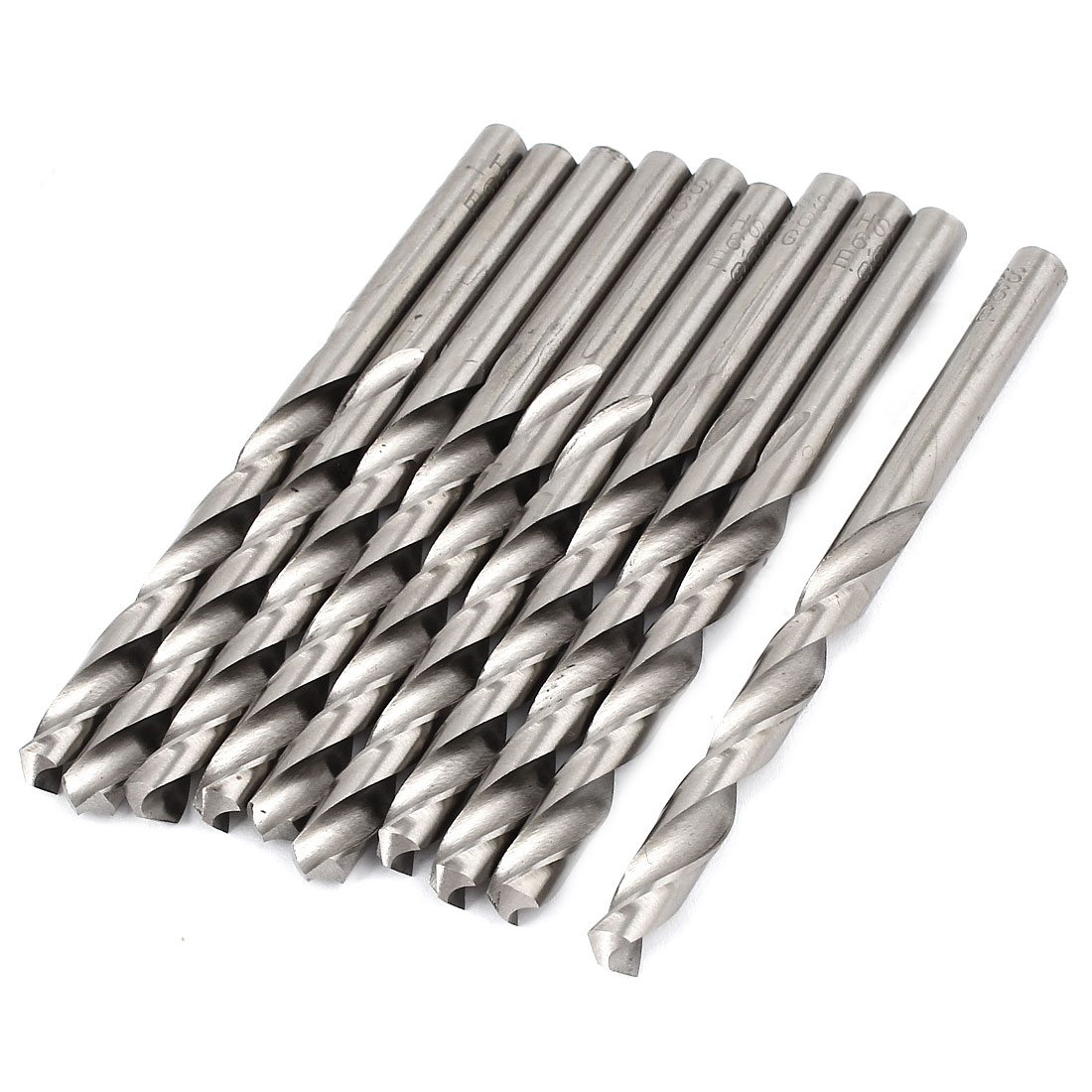 10 Pieces 5.3mm x 60mm Straight Shank HSS Twist Drill Drilling Bits Silver Tone