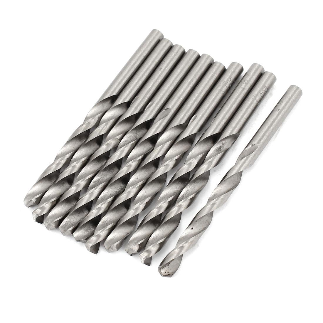 5.7mm x 62mm Straight Shank HSS Twist Drill Drilling Bits Silver Tone 10pcs