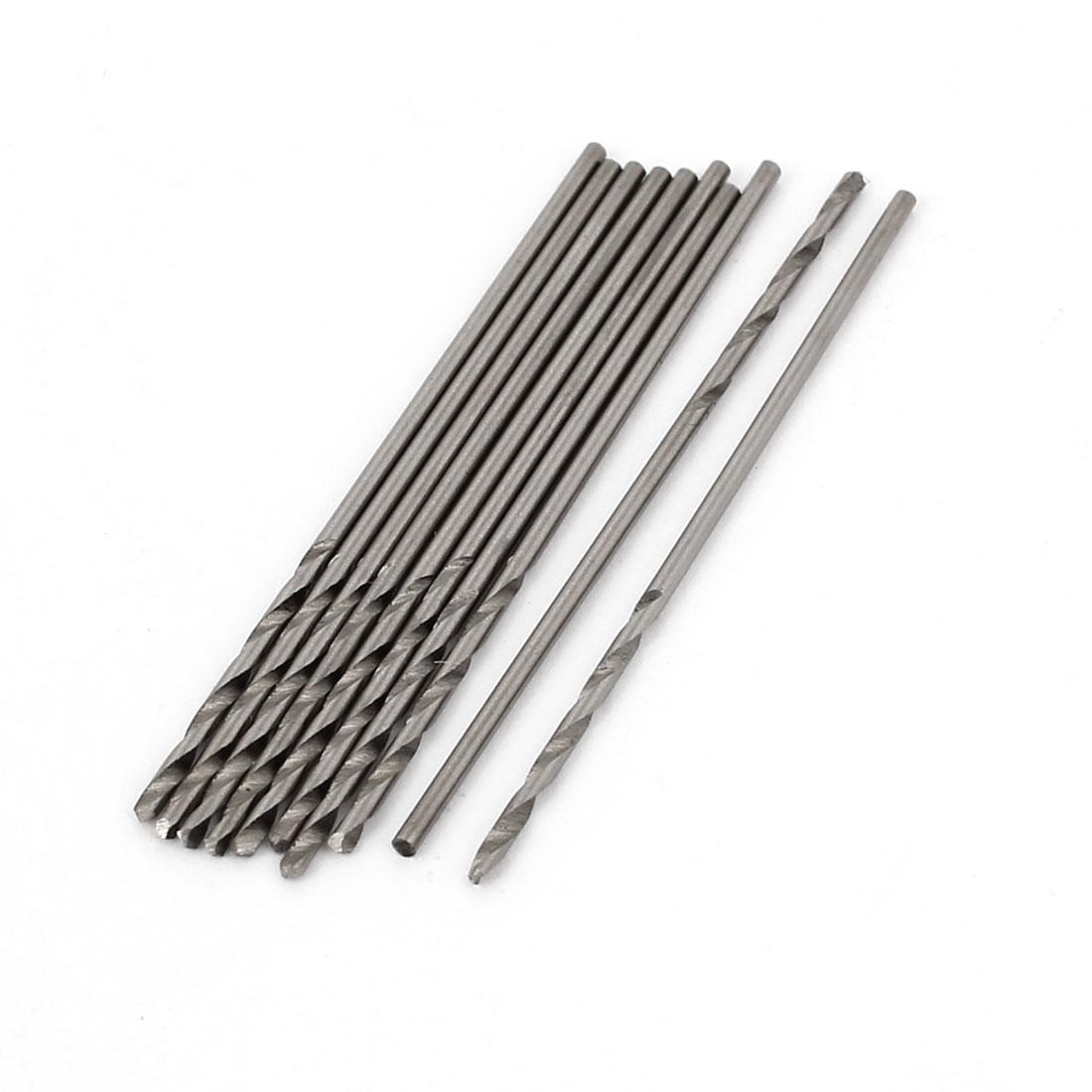 10pcs 1.1mmx18mm High Speed Steel Straight Shank 2 Flutes Twist Drilling Bit