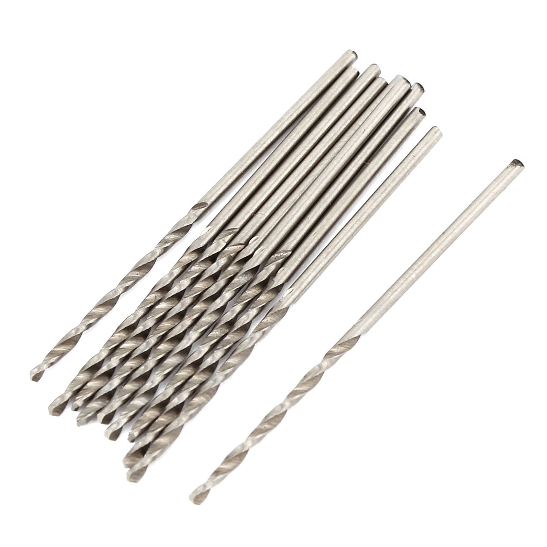 1.2mmx20mm High Speed Steel Straight Shank 2 Flutes Twist Drilling Bit 10 Pcs