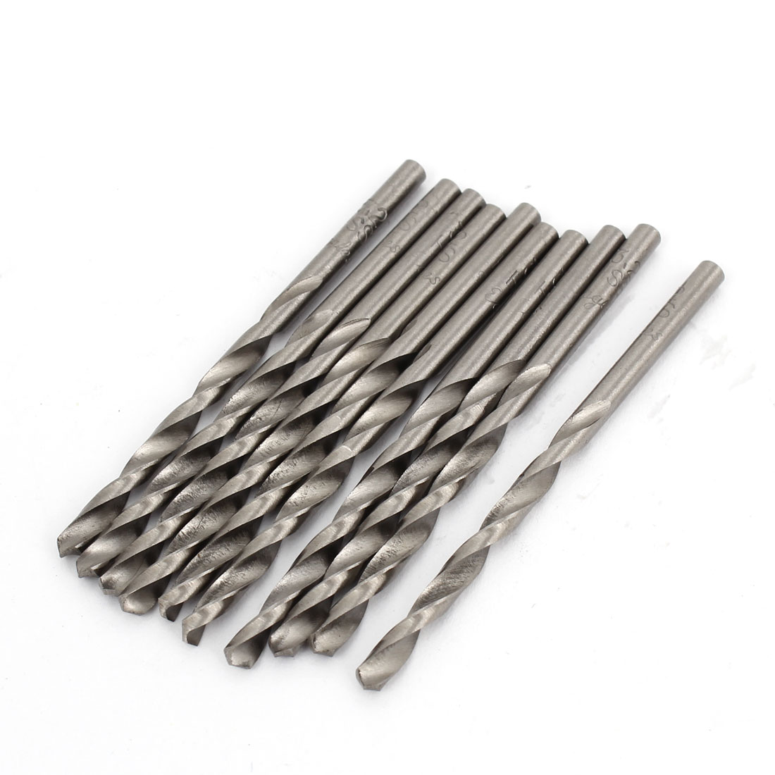 10pcs 3.2mmx40mm High Speed Steel Straight Shank 2 Flutes Twist Drilling Bit
